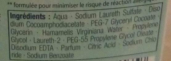 Gel Lavant Douceur Pure à l'Hamamelis - Ingredients