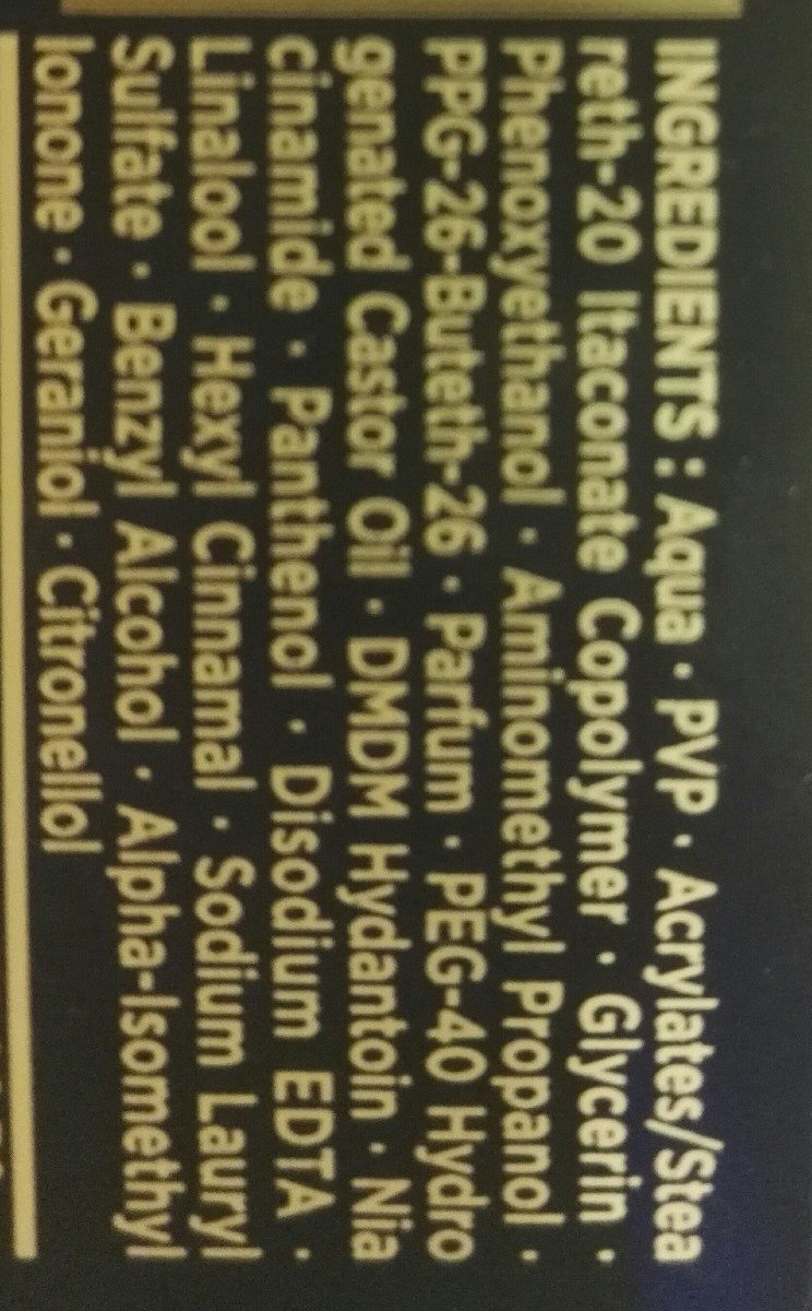 Titane Power Gel 6 - Ingrédients - fr