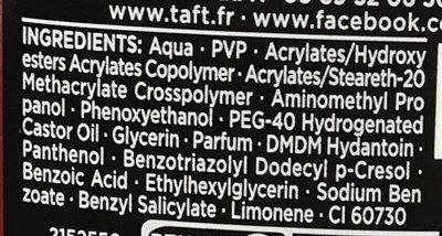 Taft V12 Power Gel - Ingrédients