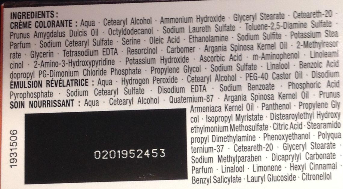 Coloration crème soin à l'huile d'argan Châtain caramel 660 - Ingredients