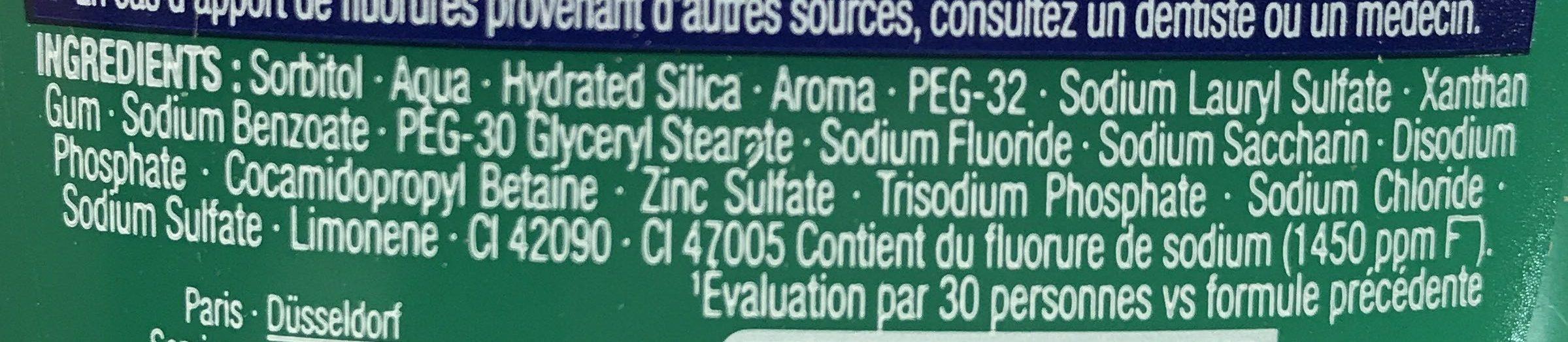 Teraxyl - 2 en 1 - Dentifrice + Bain de Bouche - Non-Stop Fresh aux essences de Menthe - Ingredients - fr