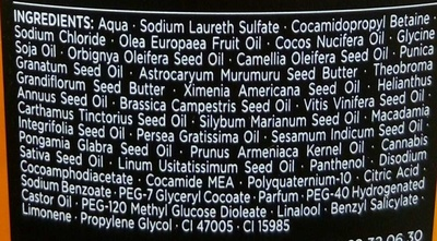 Huile 21 Nutrition Intense Shampooing - Ingredients