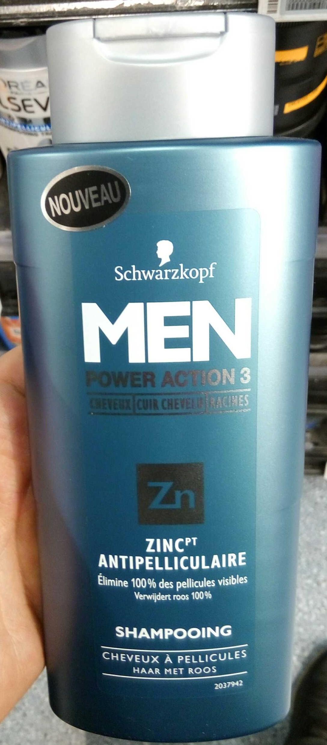 Men Power Action 3 Zinc Antipelliculaire - Produit - fr