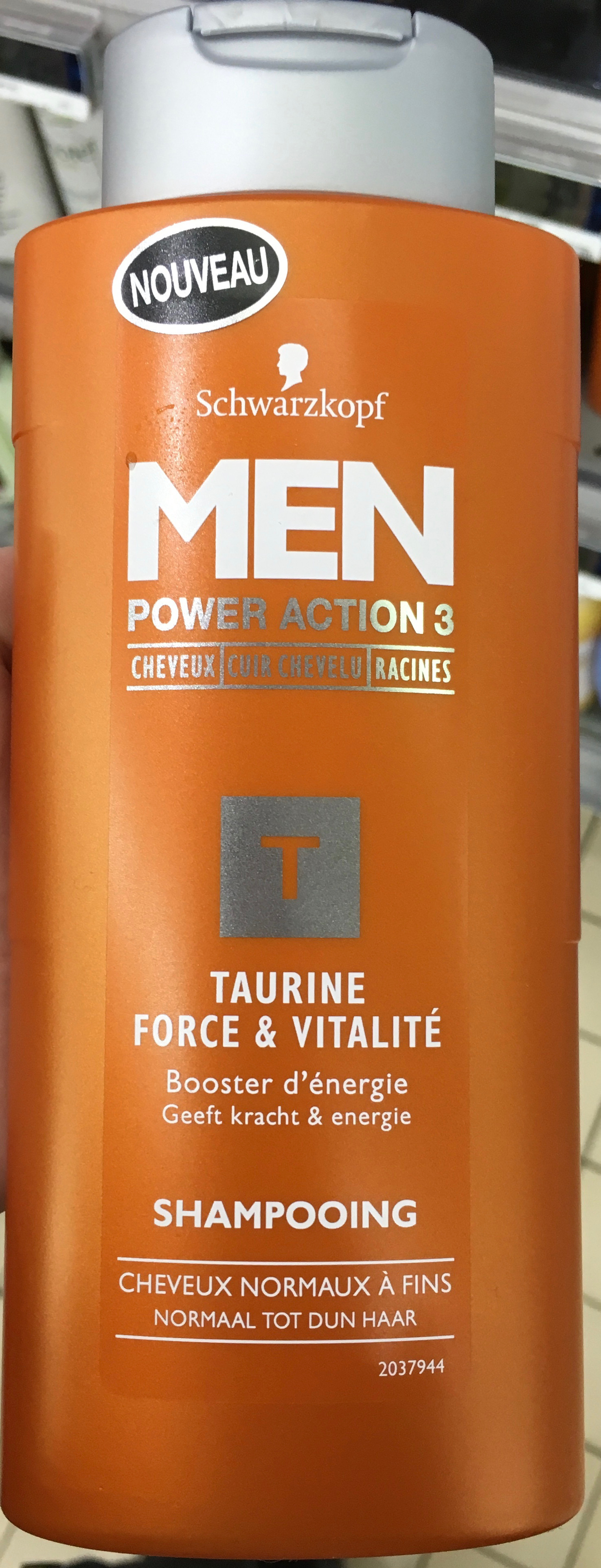 Men Power Action 3 Taurine Force & Vitalité Shampoing - Product - fr
