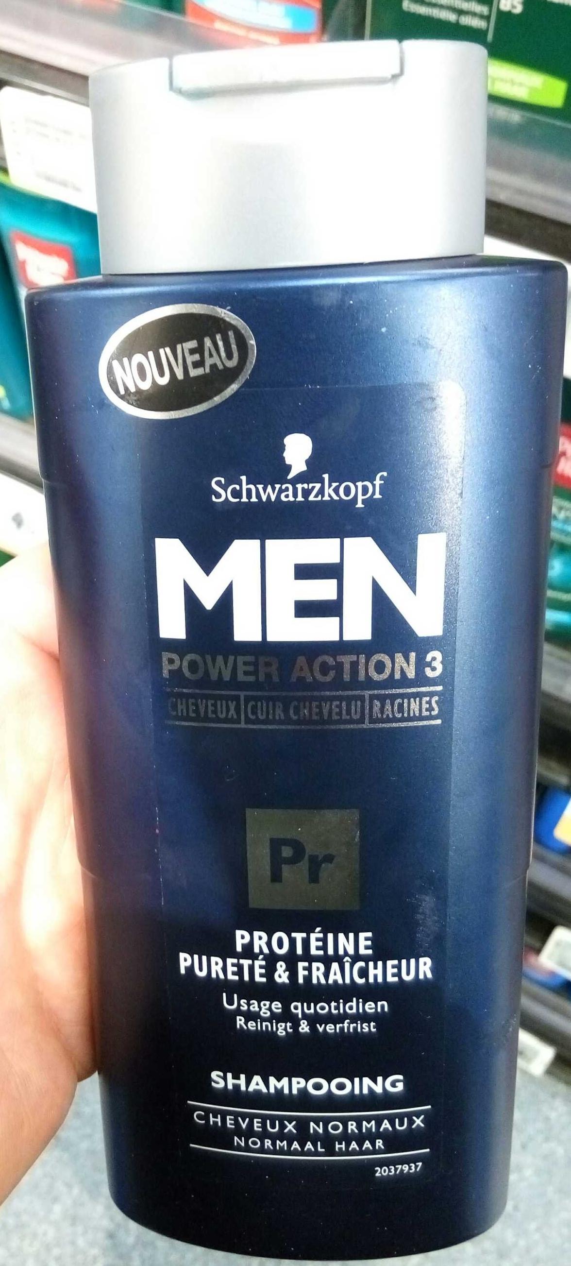 Men Power Action 3 Protéine pureté & fraîcheur shampooing - Product