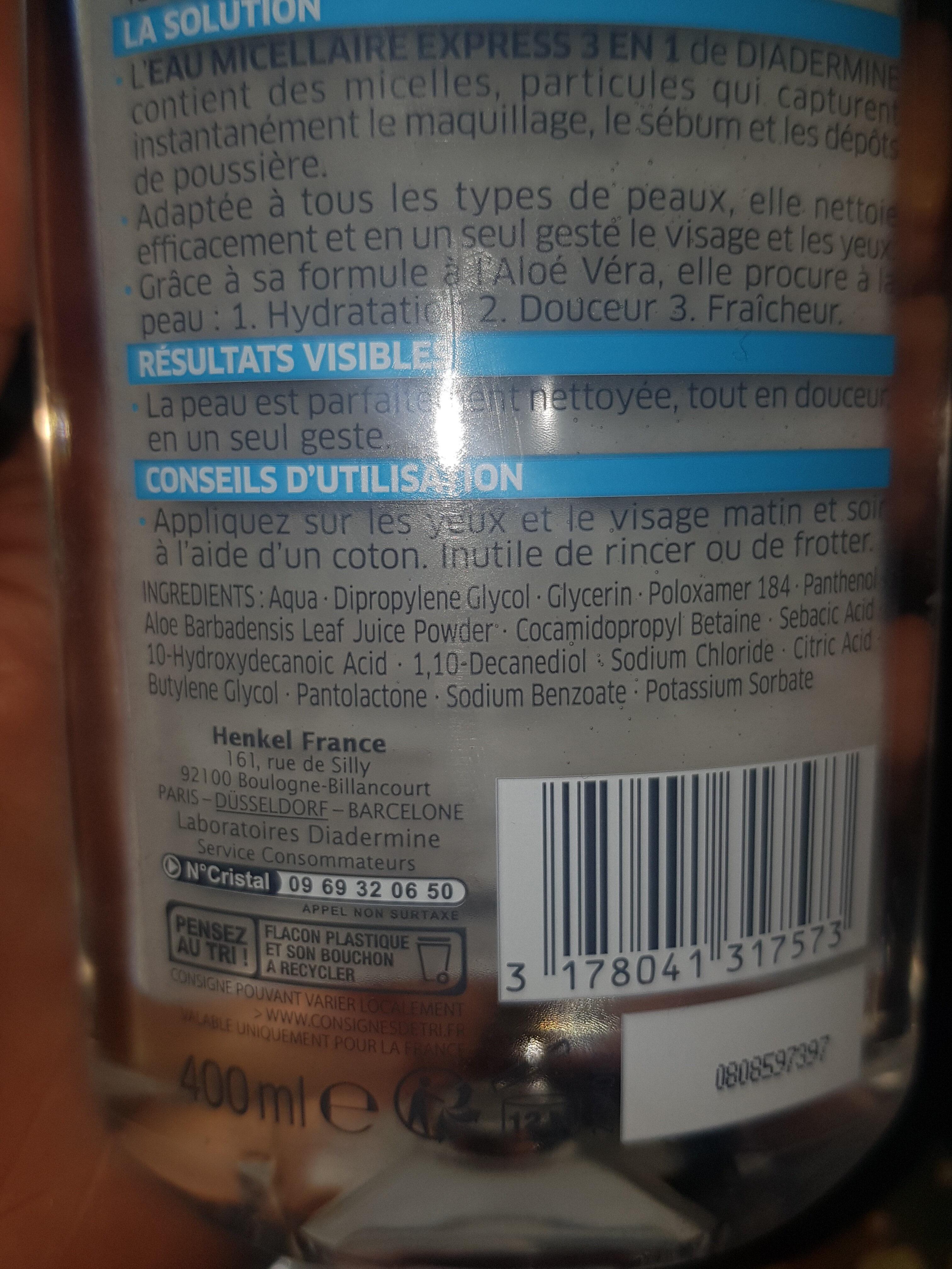 eau micellaire express 3 en 1 - Ingredients