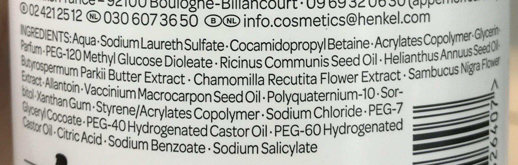 Douche crème apaisante Sensitive - Ingredients