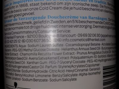 Caring Shower Cream Douche Crème Soin - Ingredients
