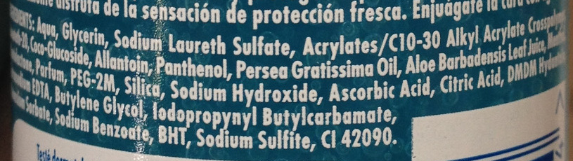 Oxygen Fresh Protection Sensitive - Ingredients - fr
