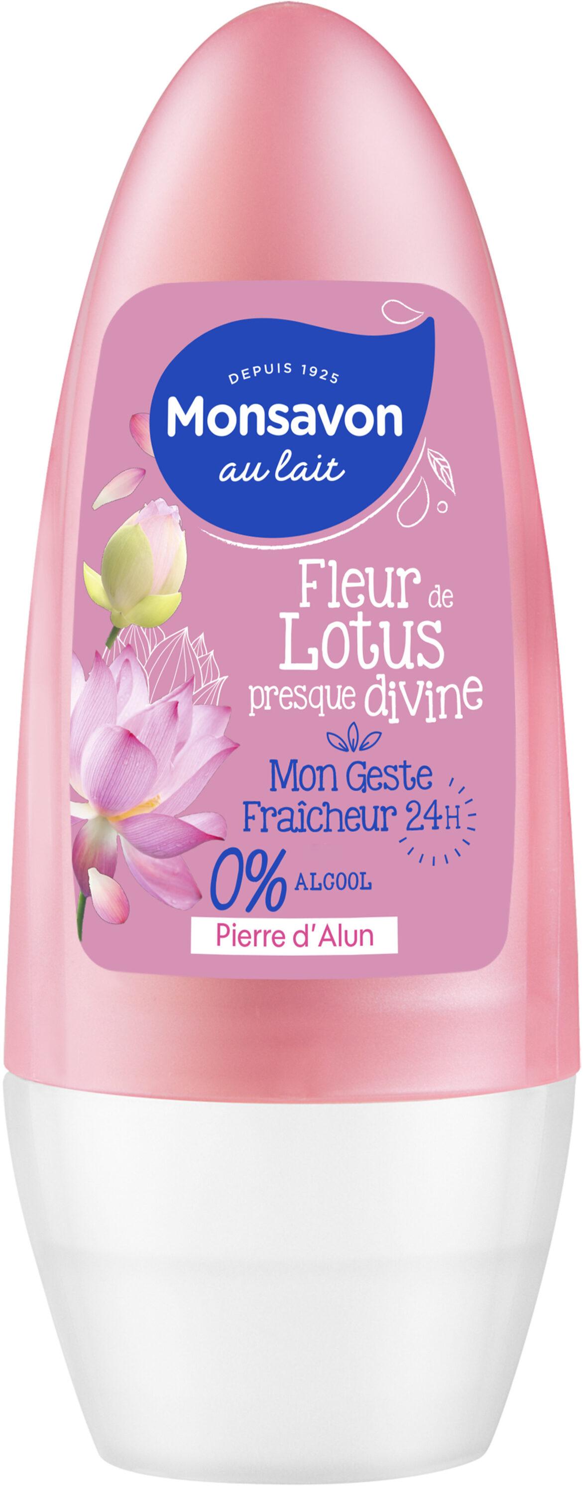 Monsavon Déodorant Femme Bille Antibactérien Pierre d'Alun Lait & Fleur de Lotus 0% Alcool - Product - fr