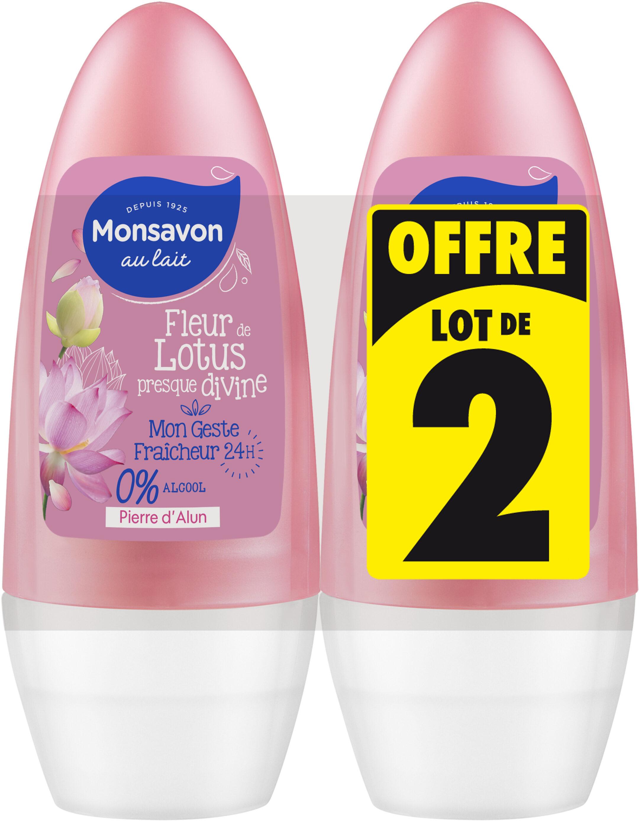 Monsavon Déodorant Femme Bille Fleur de Lotus Presque Divine 50ml Lot de 2 - Produit - fr