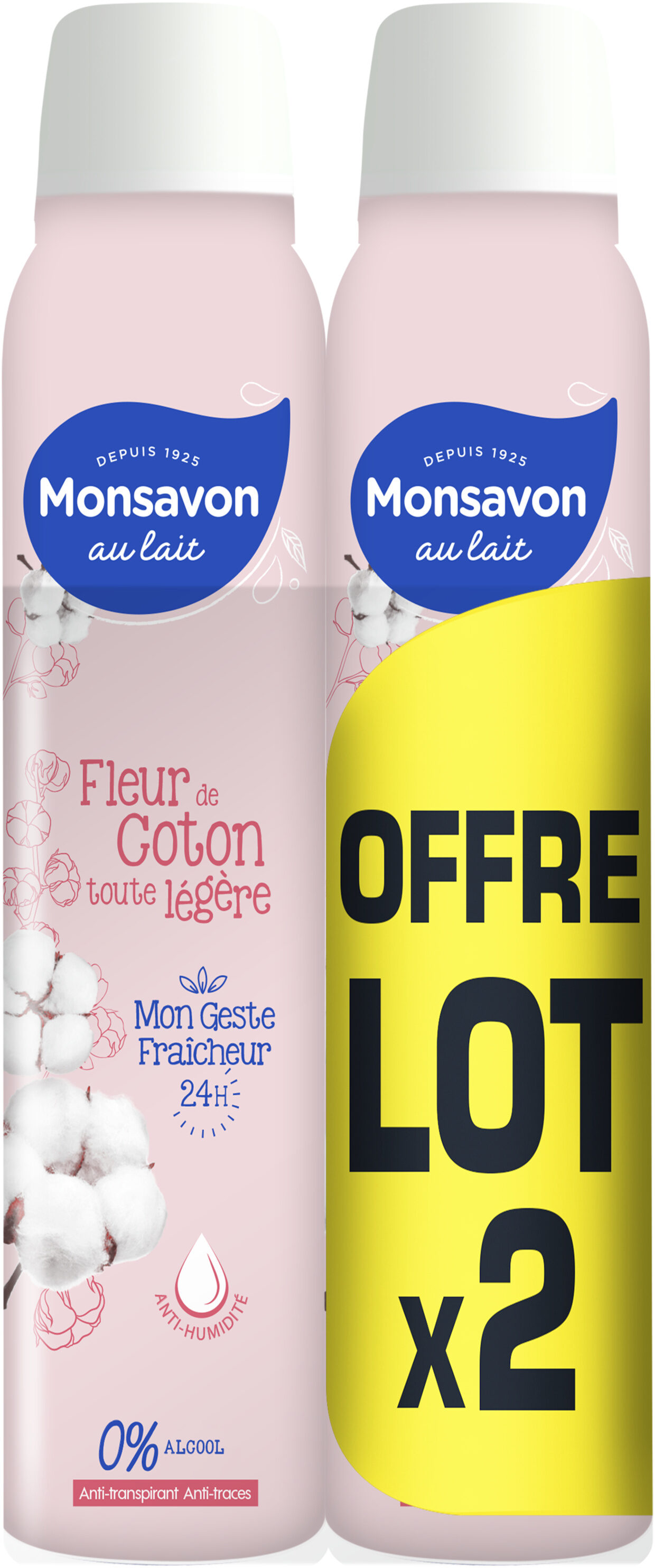 Monsavon Déodorant Femme Spray Anti Transpirant Lait & Coton 2x200ml - Product - fr
