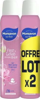 Monsavon Déodorant Femme Spray Pierre d'Alun Fleur de Lotus 2x200ml - Product