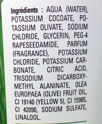 Savon liquide de Marseille extra doux Olive - Ingrédients