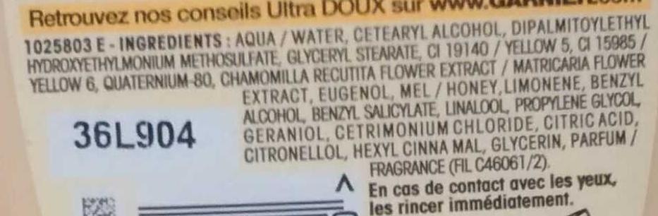 Après-shampooing crème fondante à la camomille et miel de fleurs - Ingredients