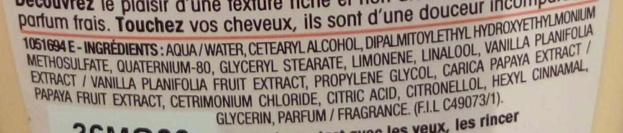 Ultra Doux Après shampooing crème fondante au Lait de vanille et pulpe de papaye - Ingredients - fr