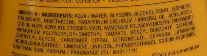 Body Tonic Lait hydratant fermeté - Ingredients