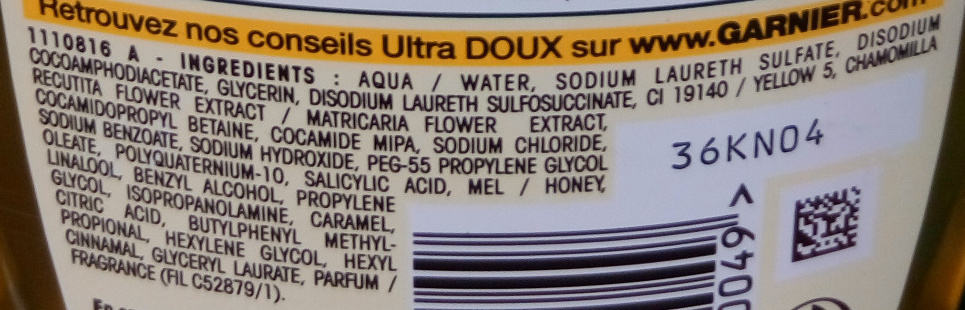 Shampooing à la camomille et miel de fleurs - Ingredients - fr