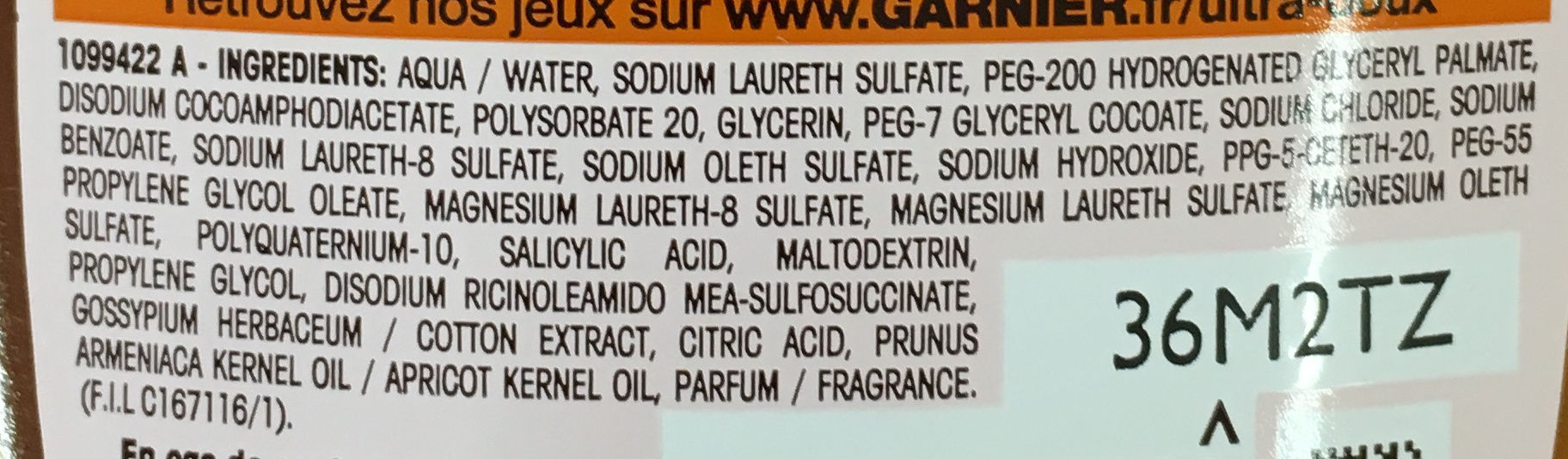 Ultra Doux Enfants Shampooing 2 en 1 à l'abricot et fleur de coton - Ingredients - fr