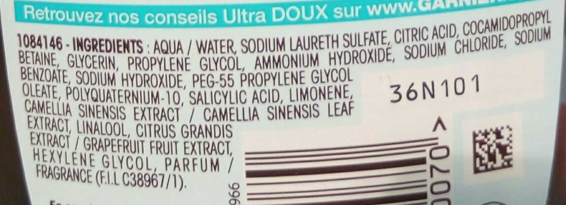 Ultra Doux Shampooing à l'extrait de Pamplemousse et de thé vert - Ingrédients