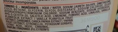 Shampooing 2 en 1 au lait de vanille et pulpe de papaye - Ingredients
