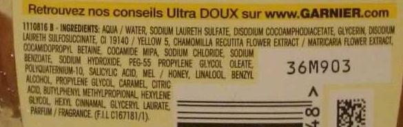 Ultra Doux Shampooing à la camomille et miel de fleurs - Ingredients - fr