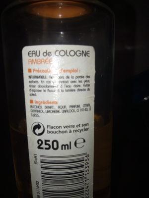 eau de cologne ambrée - Ingredients