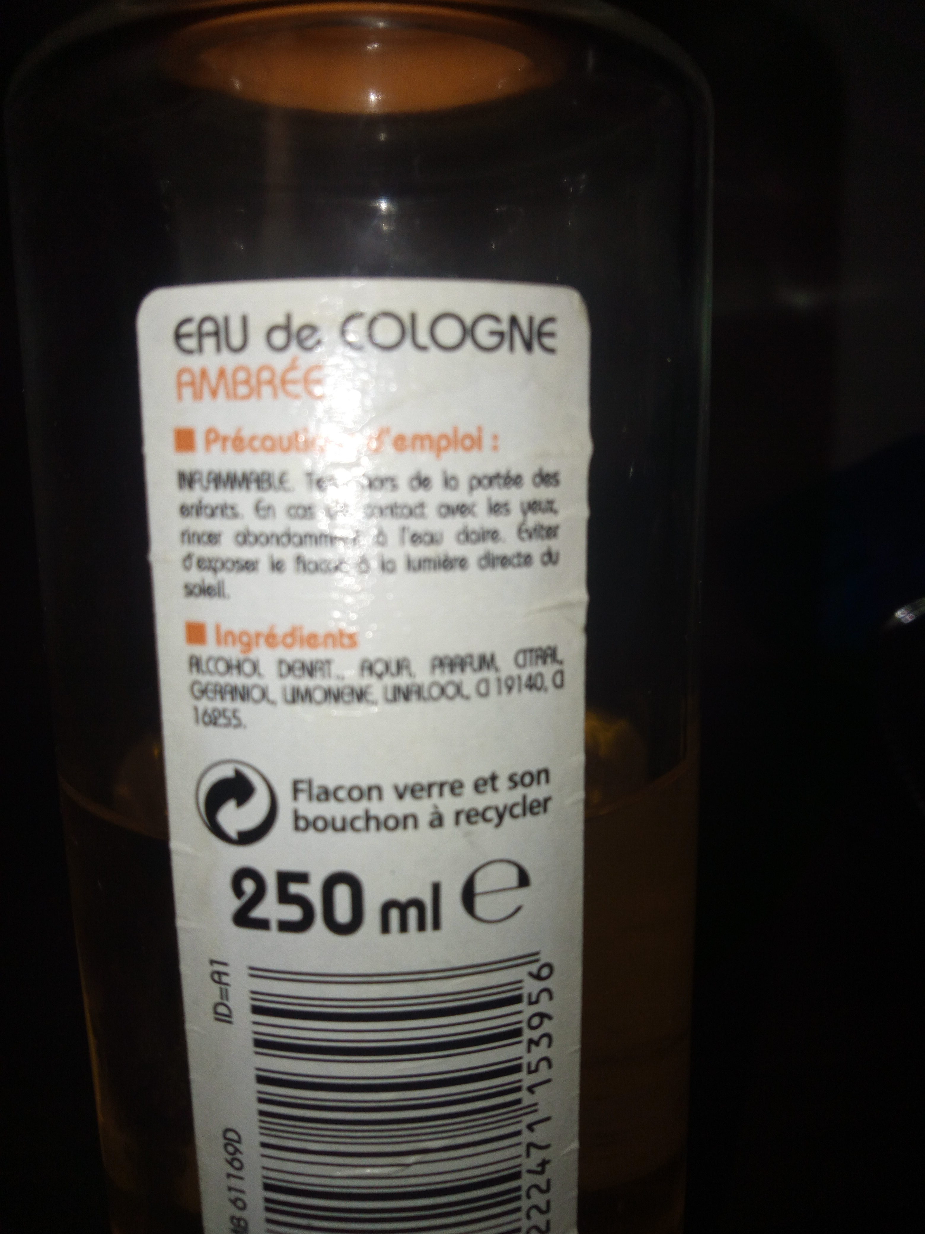 eau de cologne ambrée - Ingrédients - fr