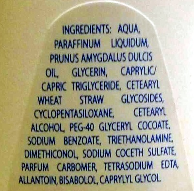 Lait de toilette hydratant - Ingredients