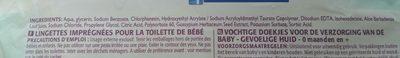 Lingettes Sensitive Bébé, Le Paquet De 63 Lingettes - Ingredients - fr