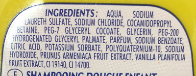 Shampooing Vanille Abricot - Ingredients