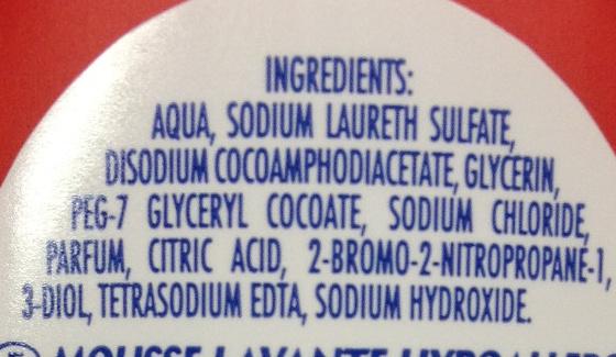 Mousse lavante mains aux parfums de fruits rouges - Ingrédients