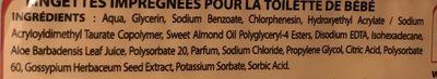 80 Lingettes bébé - Ingredients