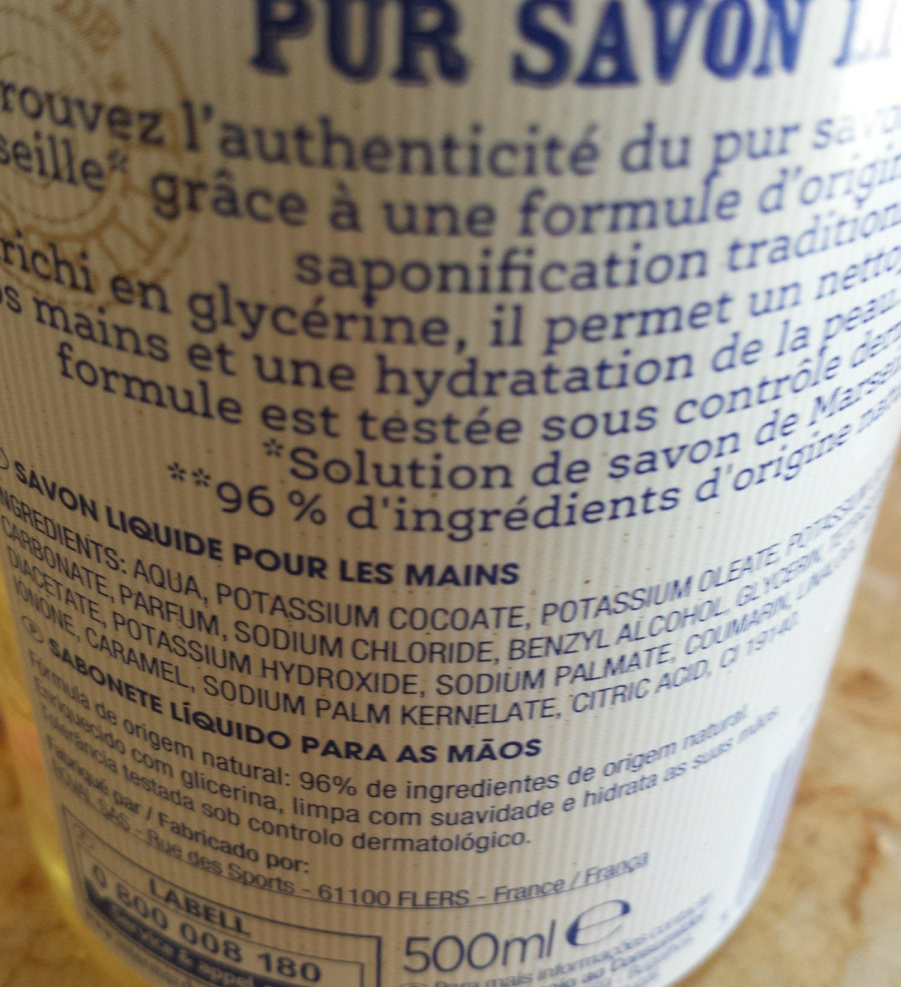Pur savon liquide - Ingredients