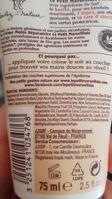 creme mains reparatrice - Ingredients