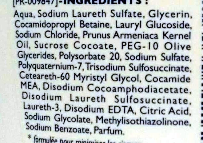 Gel Douche Micellaire Sans savon Peaux sensibles Huile d'Abricot - Ingredients