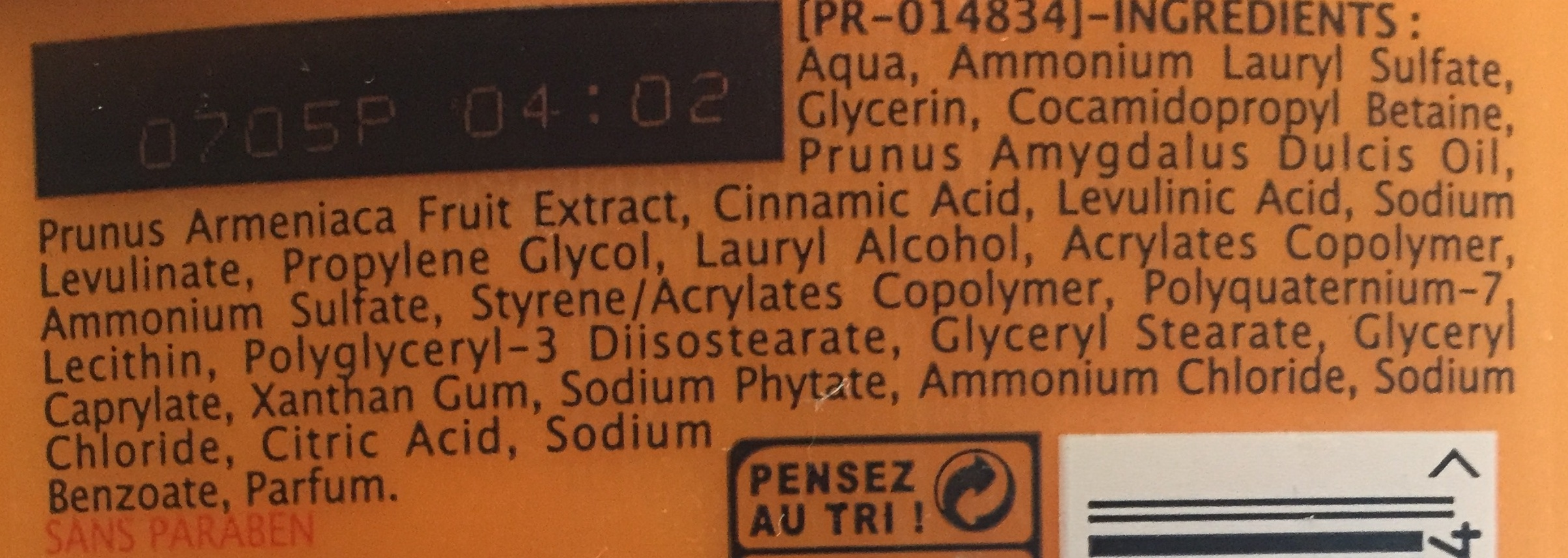 gel douche avec du lait et de l'abricot - Ingrédients - fr