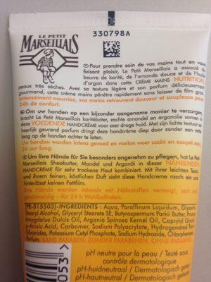 Le Petit Marseillais Crème Mains Nourrissante à L'huile D'argan - Ingredients