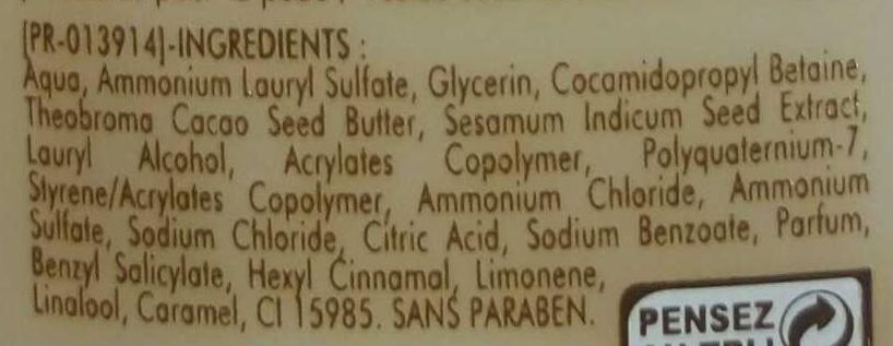 Douche Crème de soin Hydratation intense - Ingrédients