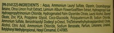 Shampooing purifiant aux extraits d'ortie et de citron - Ingredients