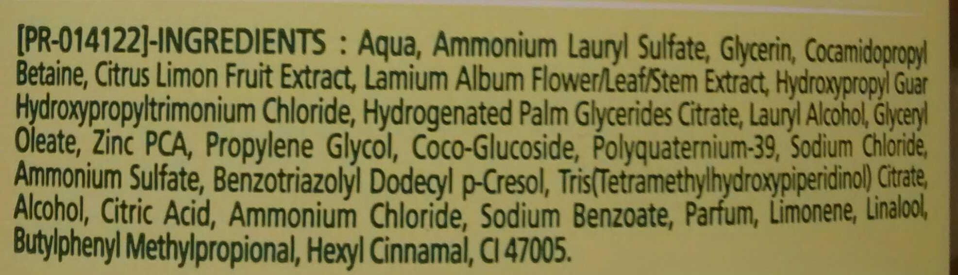Shampooing purifiant aux extraits d'ortie et de citron - Ingrédients