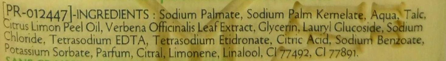 Savon à la Verveine et au Citron - Ingredients - fr