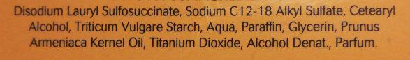 Pain dermatologique sans savon à l'huile d'abricot - Ingrédients - fr
