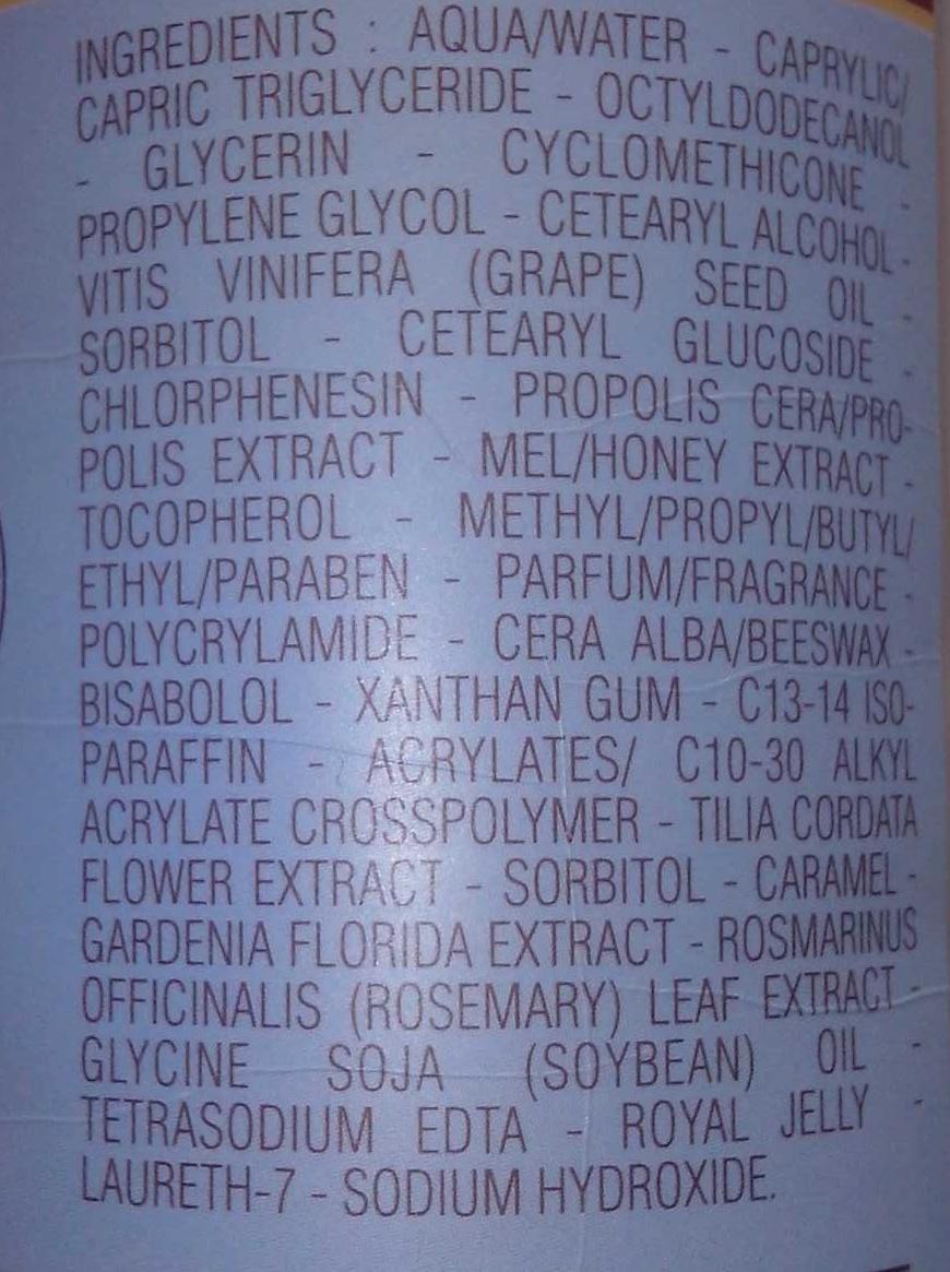 Nectar de Massage - Ingredients - fr
