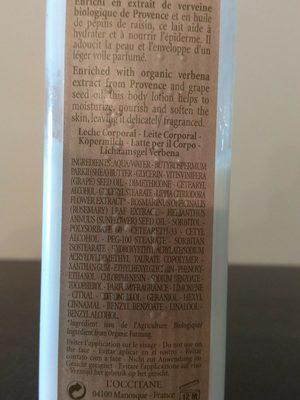 Lait Corps Verveine - Ingredients - fr