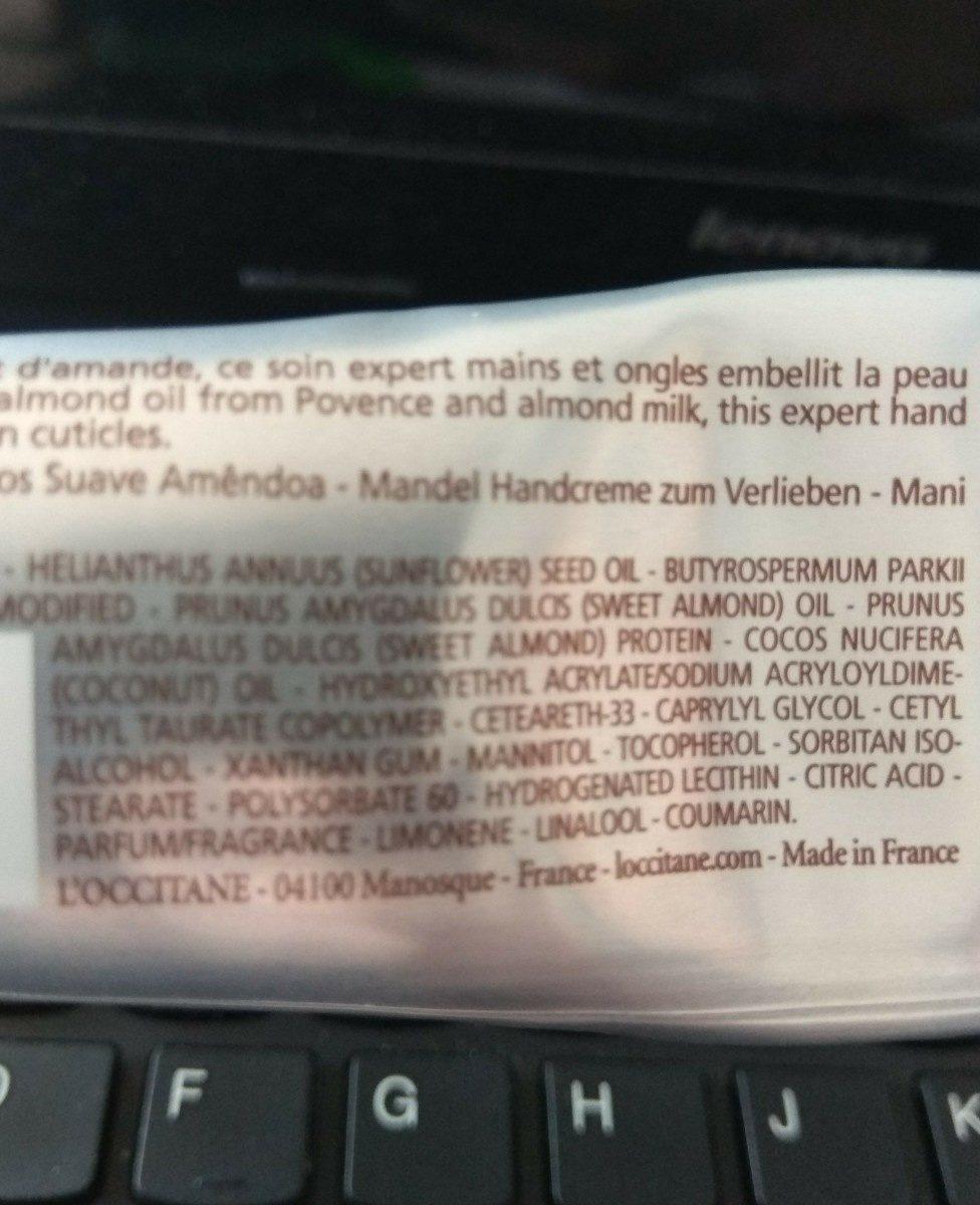 L'occitane En Provence Almond Delicious Hand Cream - Ingredients - fr