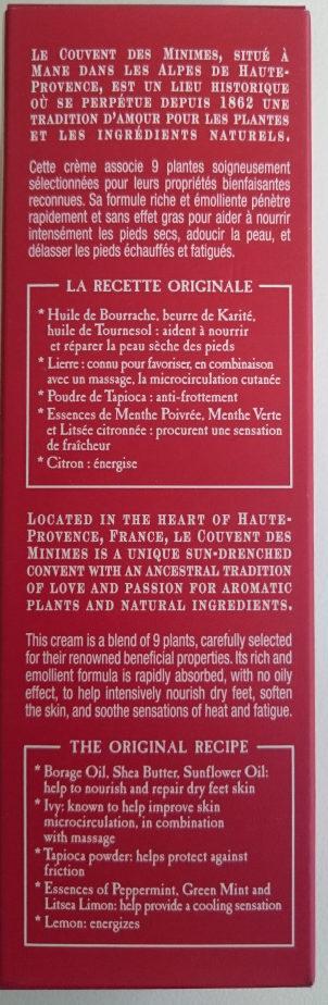 Baume du randonneur pour les pieds - Ingredients - fr