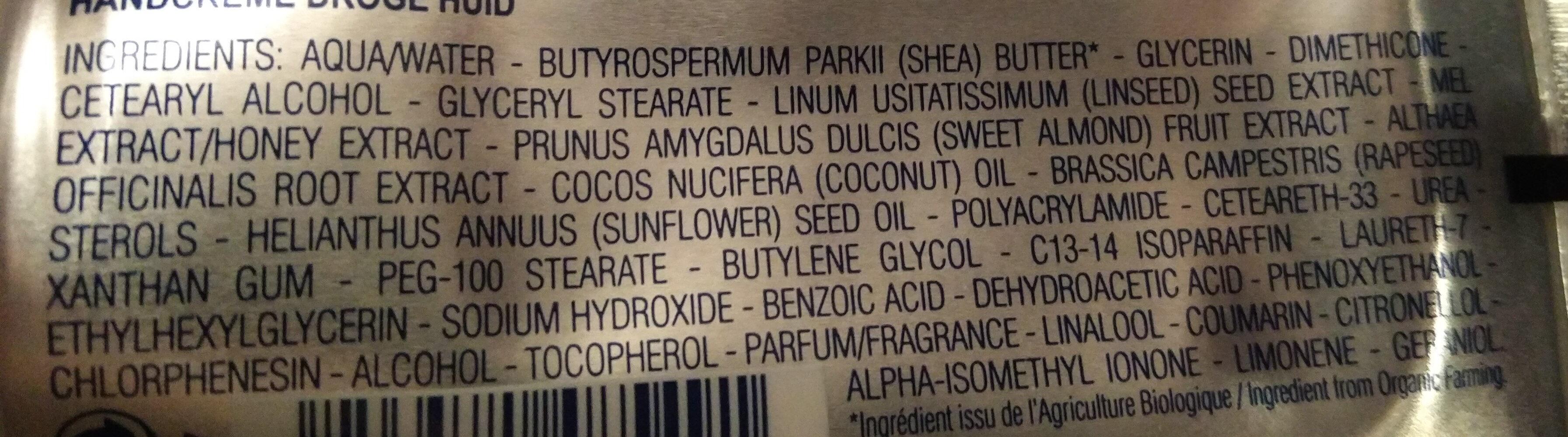Crème mains - peaux sèches - karite 20% - Ingrédients - fr