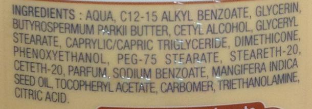 Lait corps ultra nourrissant au Beurre de karité et à l'huile de mangue - Ingredients