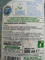 U Nature liquide vaisselle peaux sensibles - Inhaltsstoffe